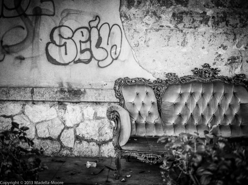 Abandoned sofa on the street in Palermo, Sicily.