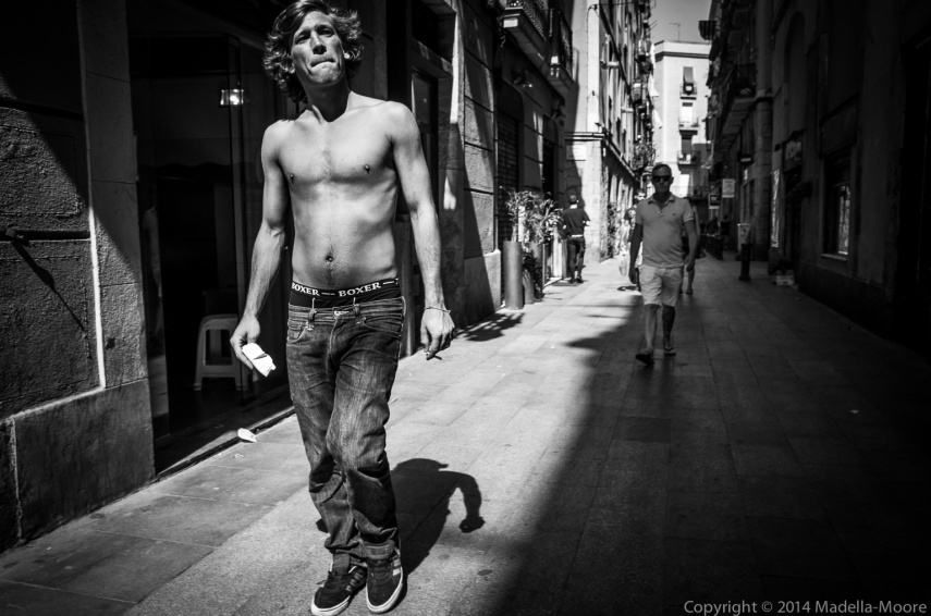 Shirtless man, Barcelona Street Photography