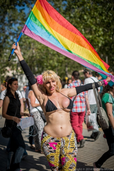 Flag Flying at Barcelona Pride 2014