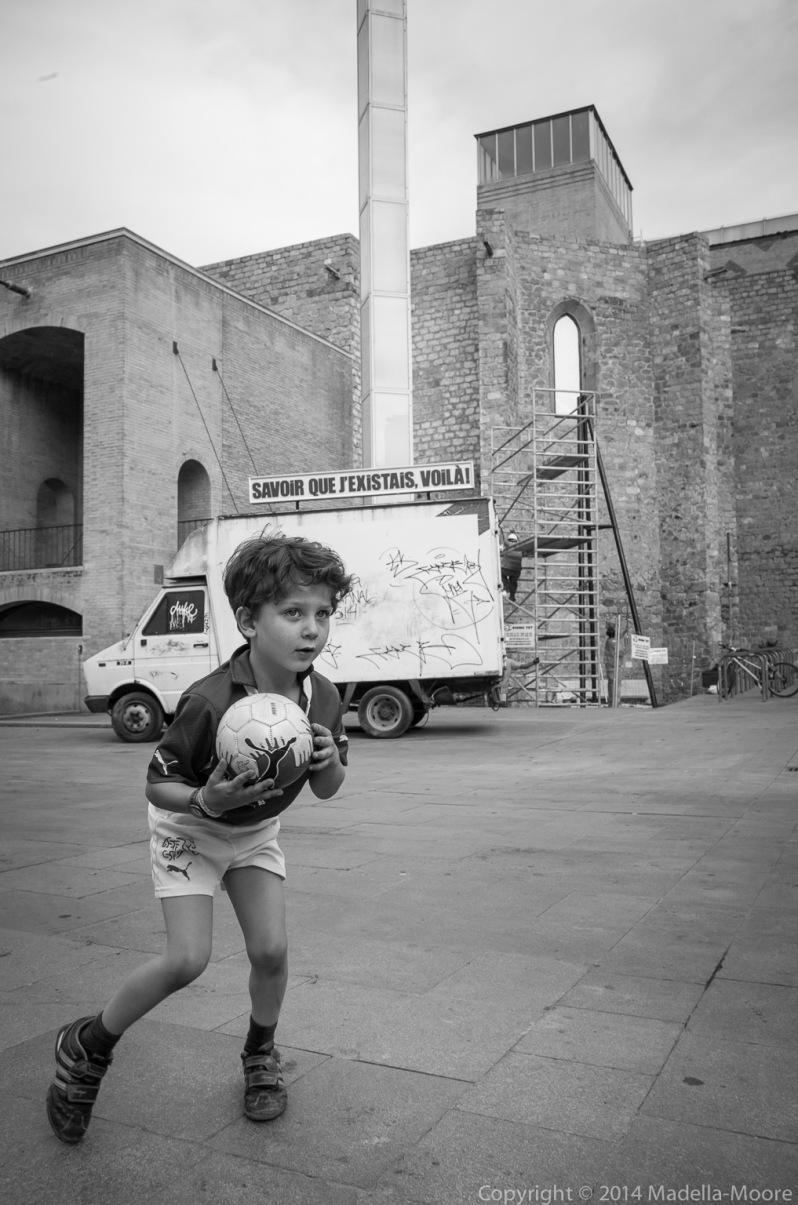 Young footballer, Plaça dels Angels, Barcelona.
