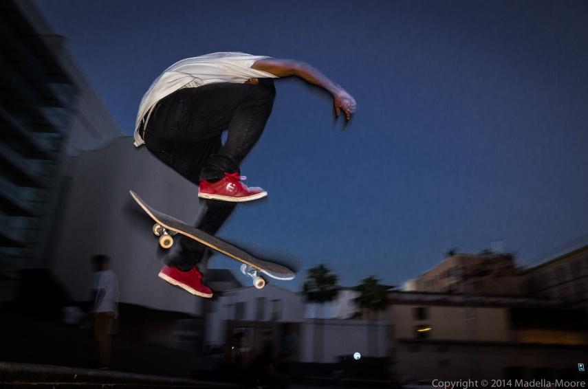 Skateboarder in mid-flight, Plaça dels Angels, Barcelona