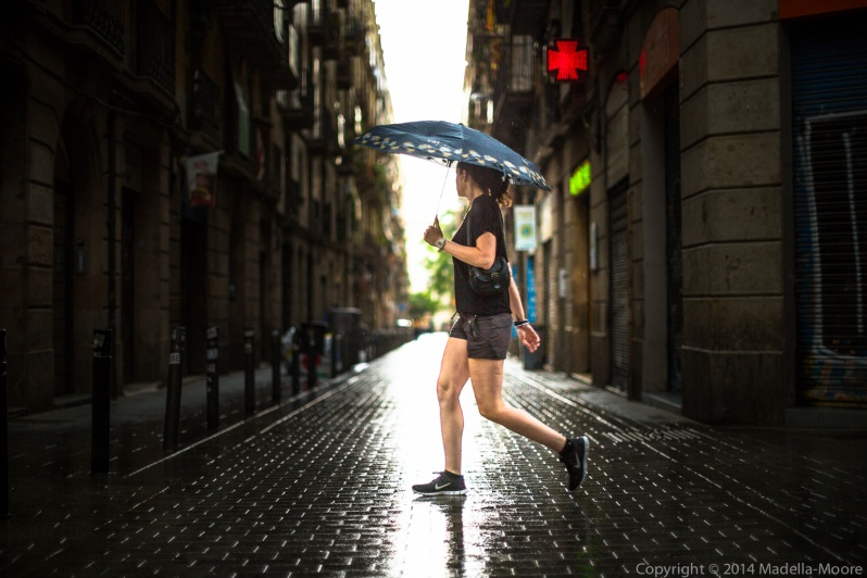 Unseasonal Rain, Career de Joaquin Costa, Barcelona. Canon 5D Mark III with 50mm f1.2L.