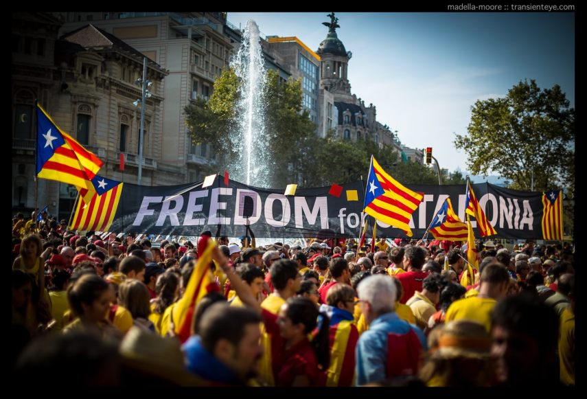 Banner reading Freedom for Catalonia, La Diada, Barcelona