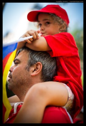 Young child dressed in Catalan colours, La Diada, Barcelona