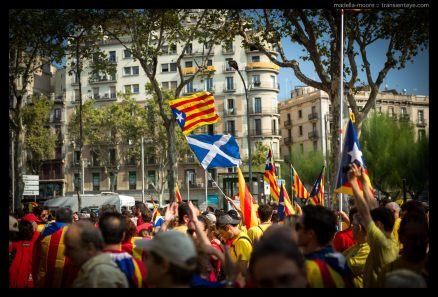 Catalan and Scottish flags at La Diada, Barcelona