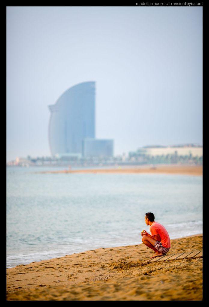Street photography along the beach at Barceloneta, Barcelona