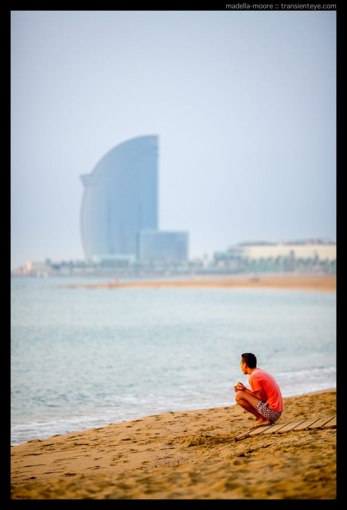 Street photography along the beach at Barceloneta, Barcelona