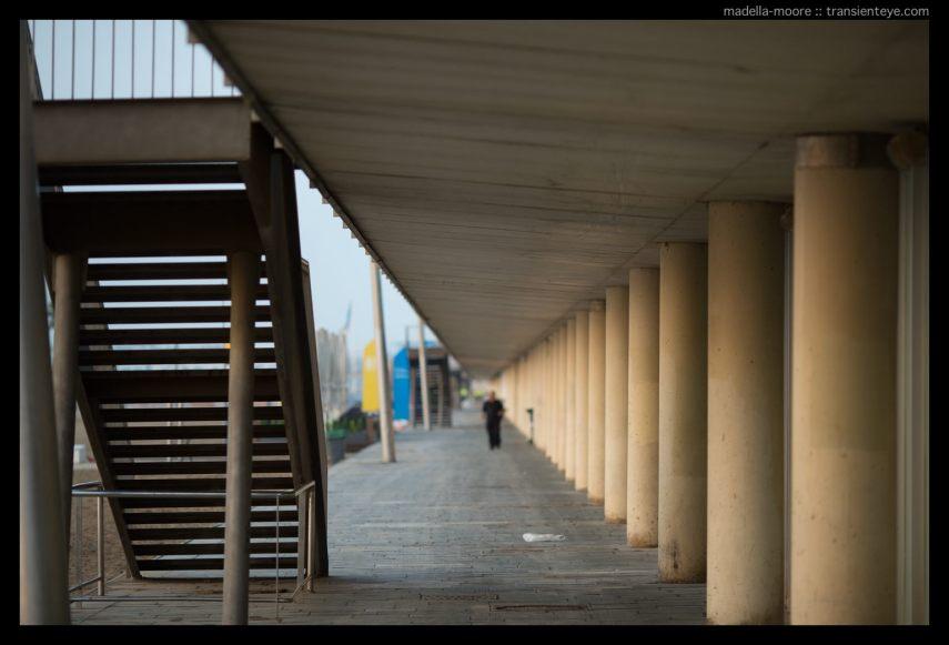 The empty early morning promenade at Barceloneta
