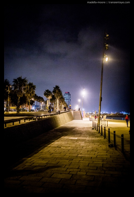Night-time photograph along the beach front in Barceloneta. Taken with the Canon 5D Mark III and Sigma 35mm f1.4 Art.