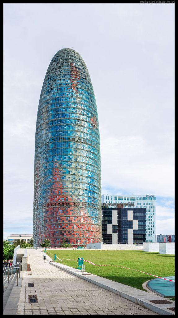 Torre Agbar, Barcelona. Canon 5D Mark III with 50mm f1.2L. Panorama stitch from five photographs.