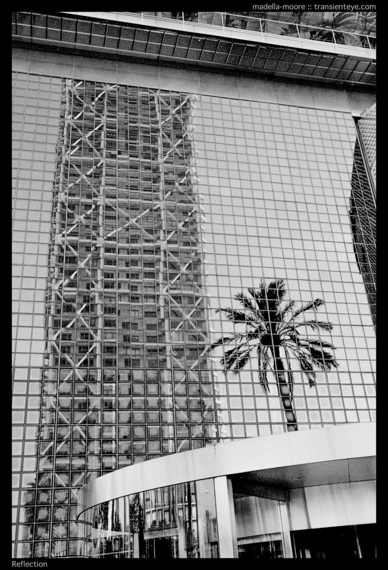 The Hotel Arts reflected in the Mapfre tower, Barcelona. Leica M7 with Zeiss ZM 2/35.