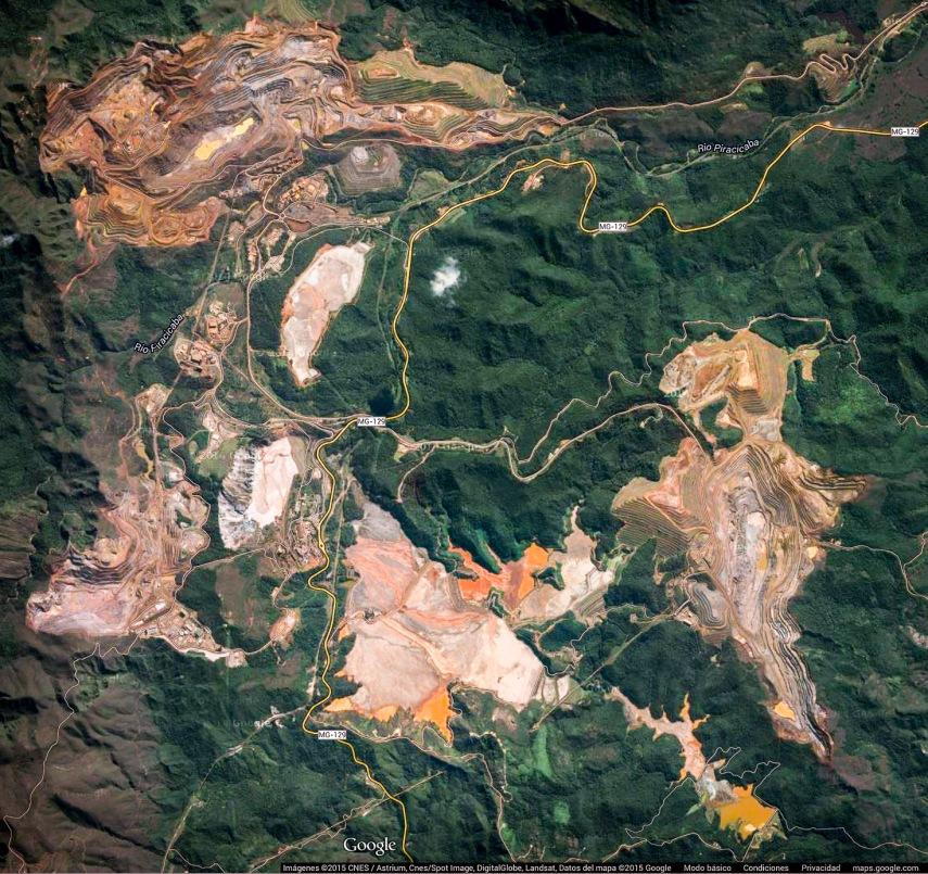 Google Map showing open cast mines near Ouro Preto, Brazil