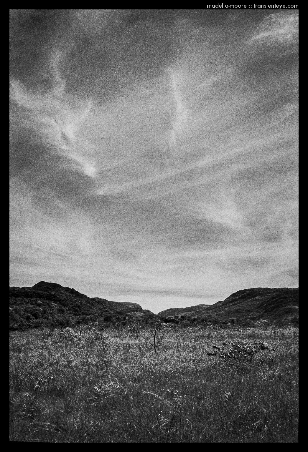 Parque Nacional da Serro da Cipó,. Black and white using Ilford HP5+ with a red filter and polariser.