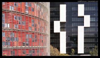 Torre Agbar and the Hotel Silken Diagonal Barcelona.