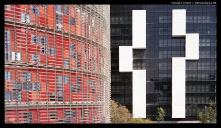 Torre Agbar and the Hotel Silken Diagonal Barcelona.