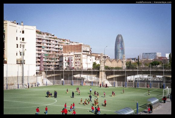 Football ground built in to the old railway cutting, Barcelona.
