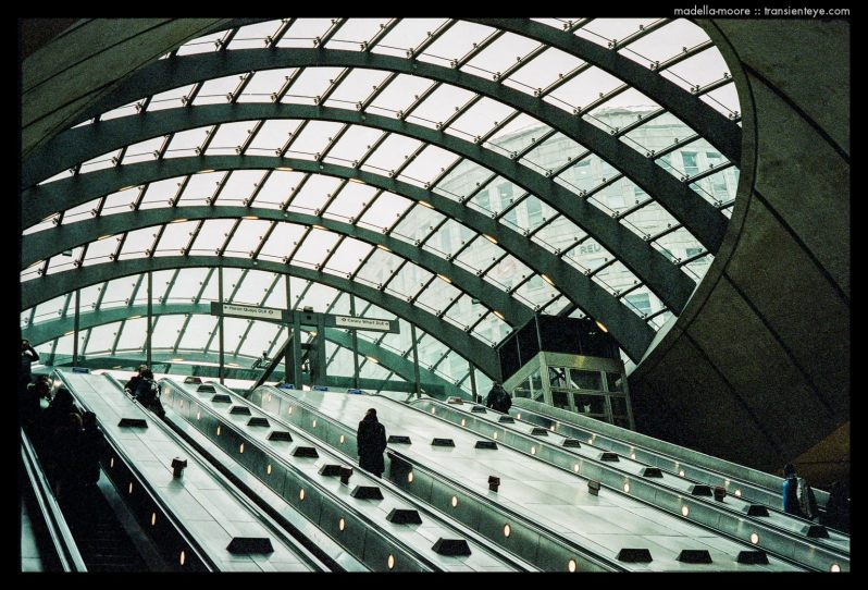 Metro entrance at Canary Wharf, London. Photograph by Mark Moore.