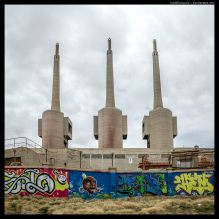 Old power station chimneys, Graffitti, Sant Andrià de Besòs