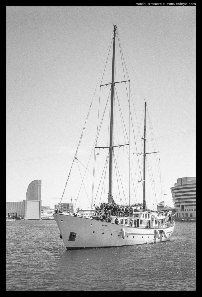 Yacht, Port Vell, Barcelona - Black and White Film Photography