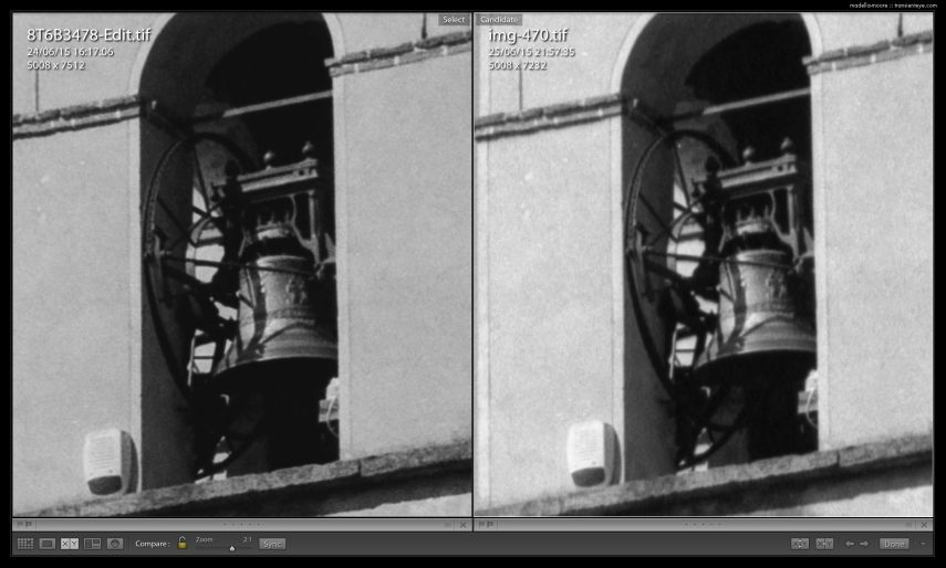 Comparison Canon macro photograph of a negative (left) and an Epson v850 scan 4800 dpi scan (right).