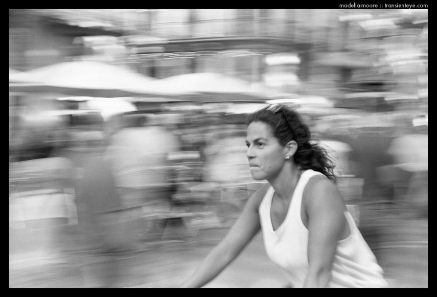 Blur - fast cyclist on Las Ramblas, Barcelona - Black and White Film Photograph