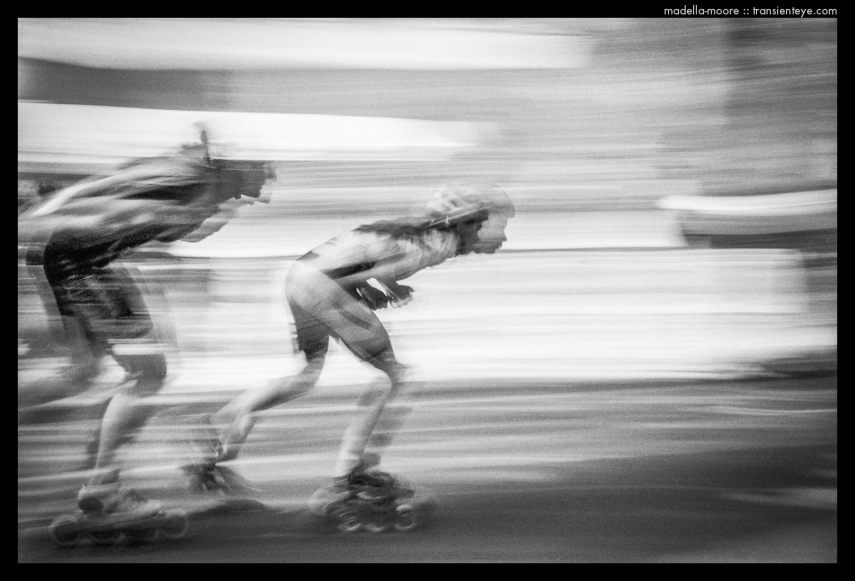 Racing Rollerskaters at the Fiesta Mayor del Raval, Rambla del Raval, Barcelona – Motion Blurred Film Photography