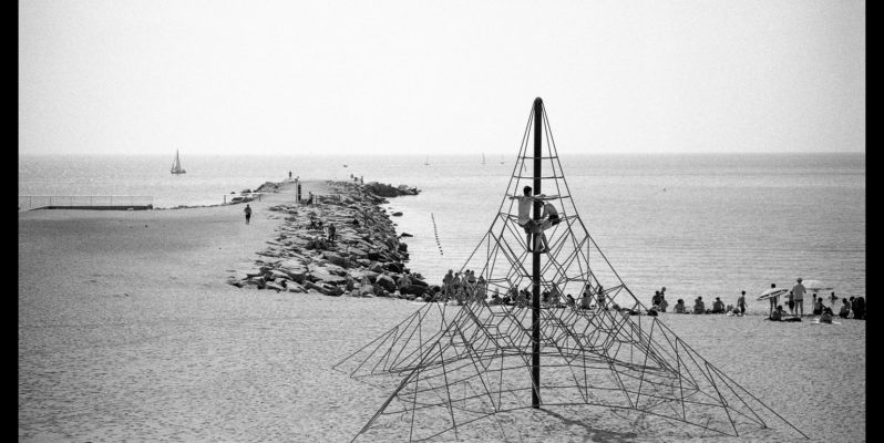 The beach, Barceloneta - Black and White Film Photography by Mark Moore