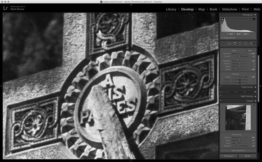 Lightroom: film scan final image at 400%