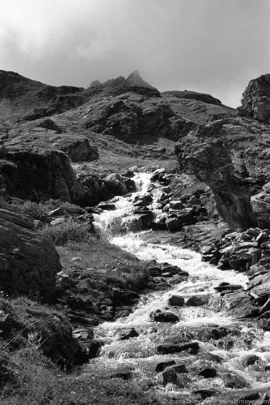 Mountain Stream, Switzerland. Ilford Delta 100.