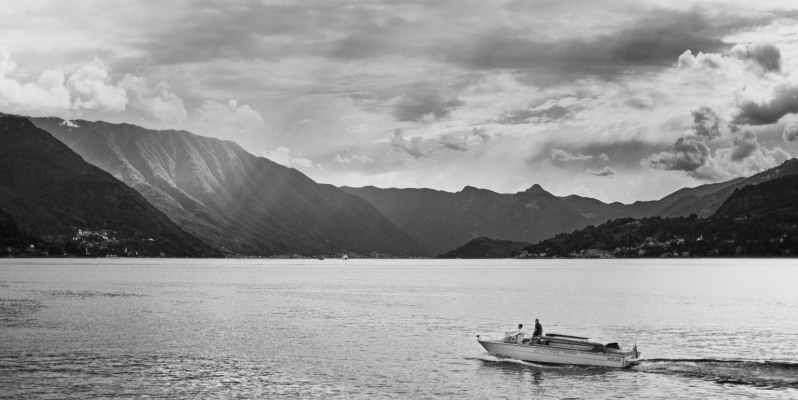 Water-taxi on Lago di Como, running from Varenna to Belaggio, Italy.