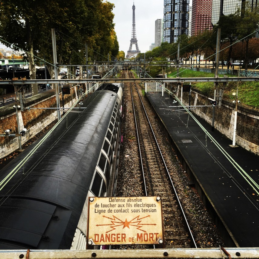 Railway and warning sign, Paris.