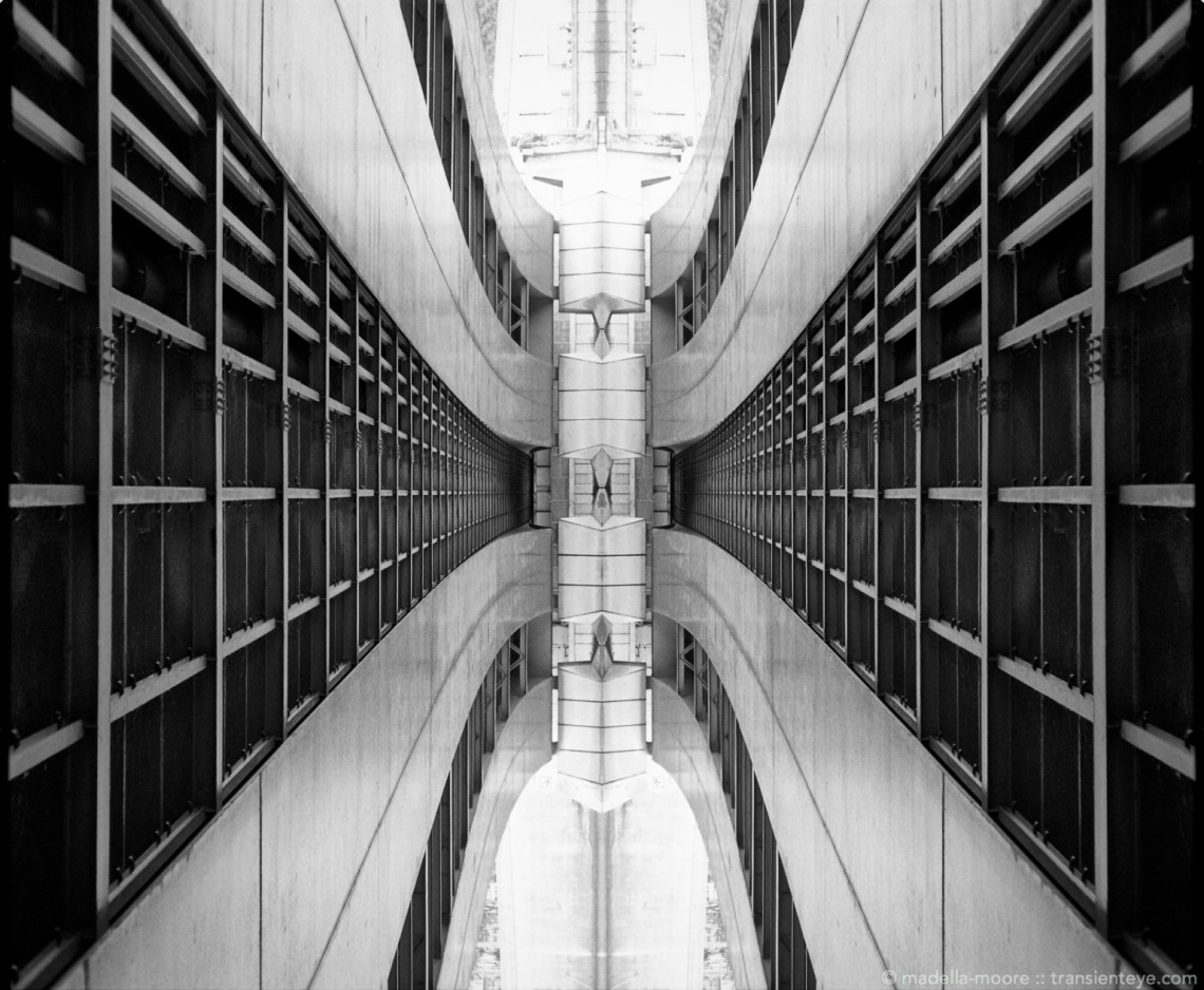 Abstracted bridge architecture, Paris. Photoshop composite of a black-and-white film image.