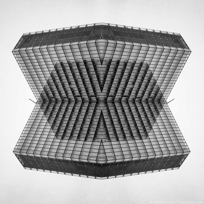 Abstracted skyscraper (Bibliothèque nationale de France) architecture, Paris. Photoshop composite of a black-and-white film image.