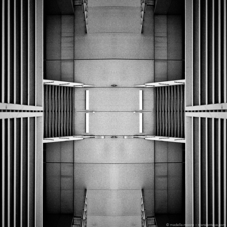 Abstract architectural image using Black and While film.