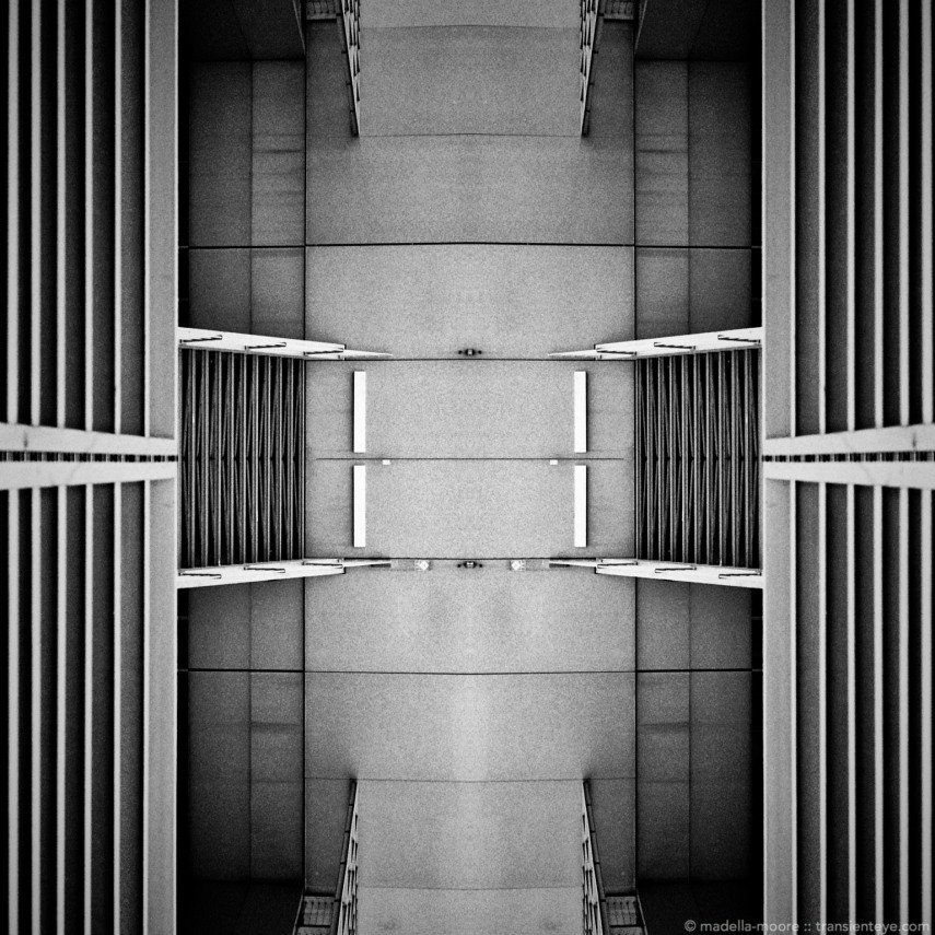Abstract architectural image, in black and white. Shot on Ilford HP5+