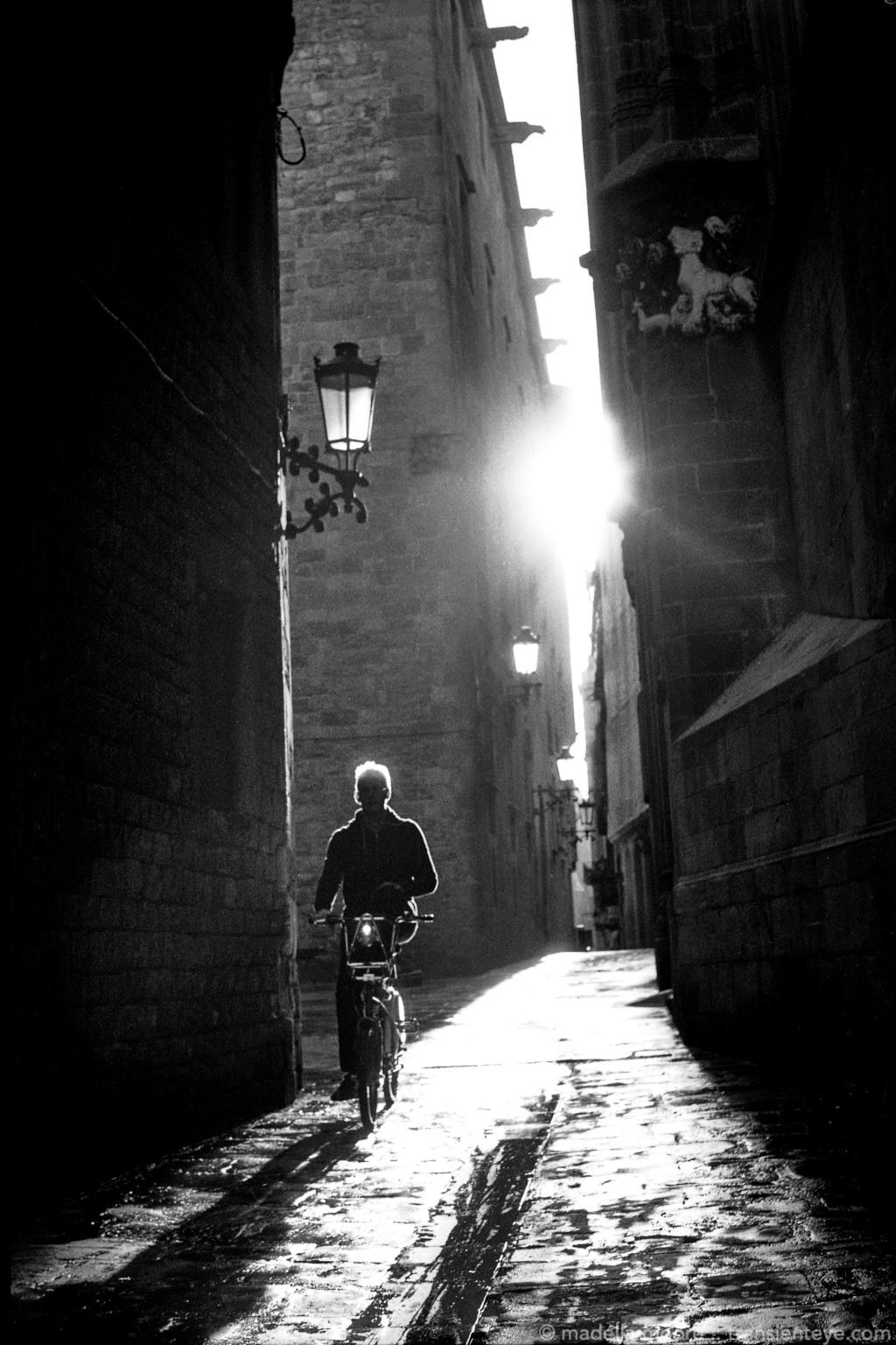Cyclist in the Ciutat Vella, Barcelona. Shot with FED 5b on Ilford Delta 100.