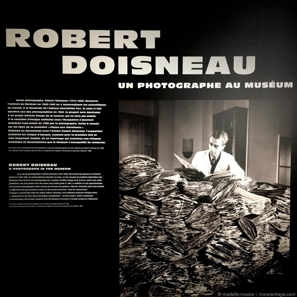 Robert Doisneau at the Grande Galerie de l'Évolution, Paris.