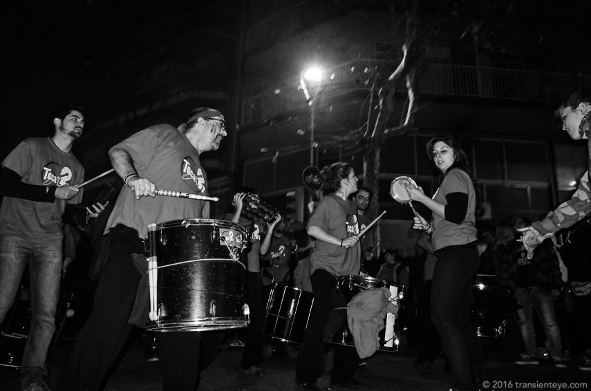 Drummers at the Festa Major de Sant Antoni, Barcelona. Ricoh GR shot in RAW and converted to Black and White in Capture One Pro 9.0.3