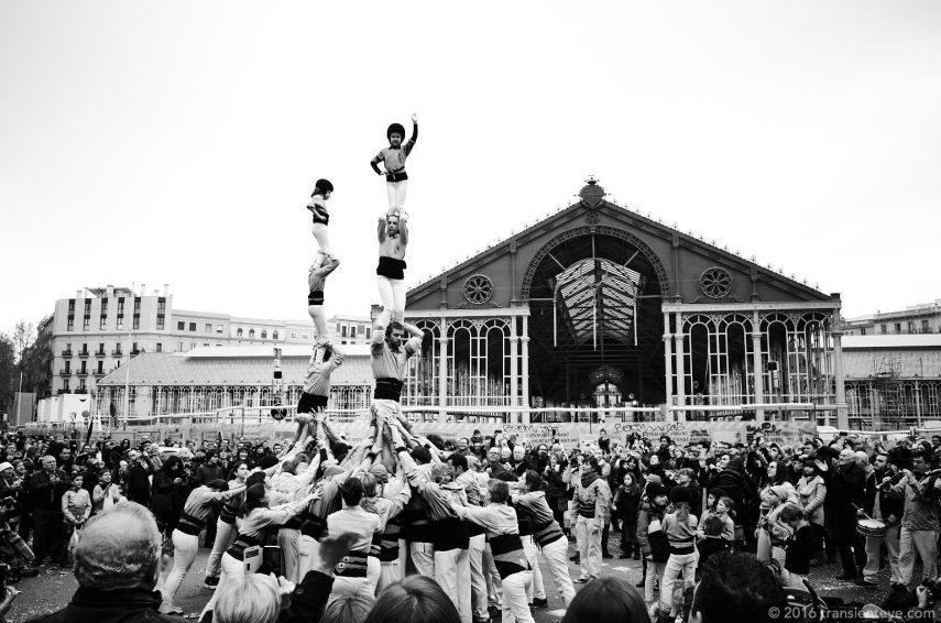 Castellers at the Festa Major de Sant Antoni, Barcelona. Ricoh GR shot in RAW and converted to Black and White in Capture One Pro 9.0.3