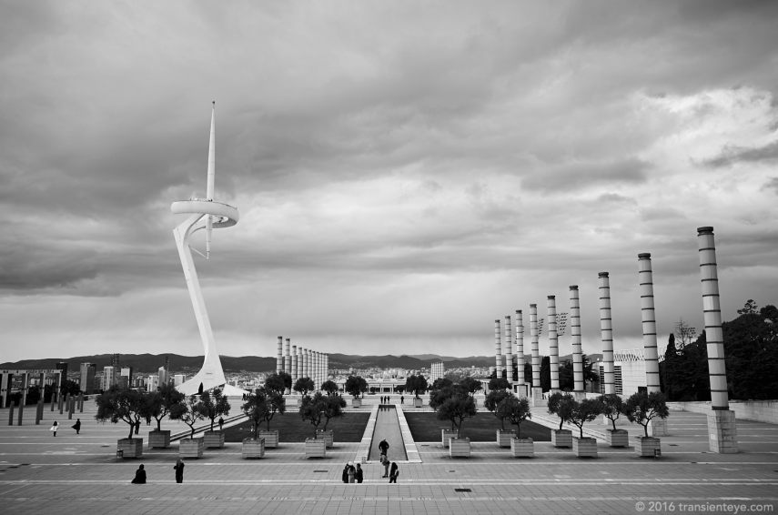 Torre Calatrava, Barcelona. Ricoh GR II in B&W.