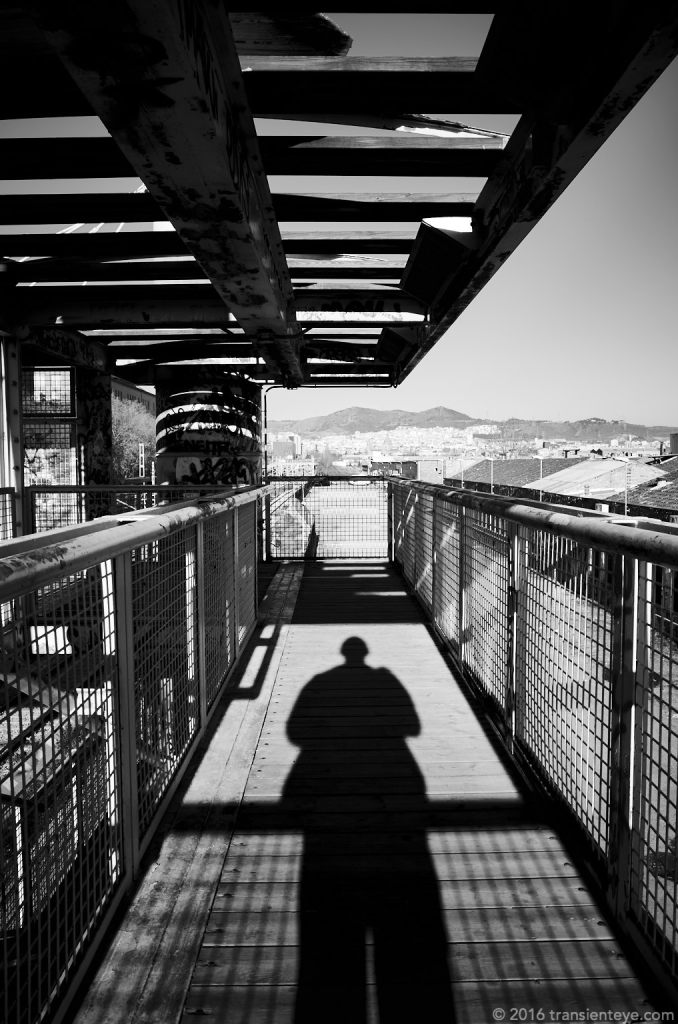 Railway Bridge and self portrait, Barcelona - GR II processed in Capture One Pro 9.03