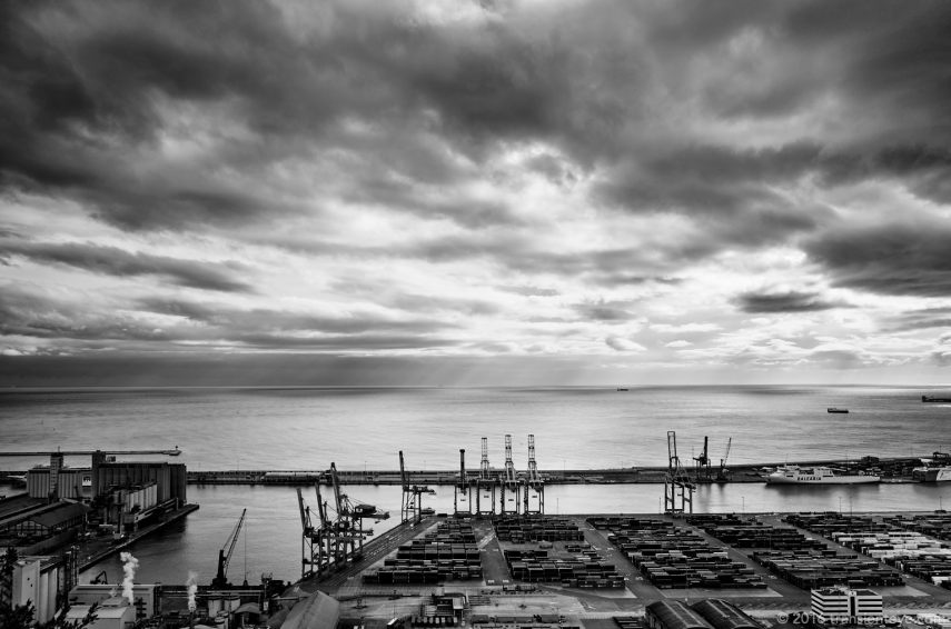 The industrial port, Barcelona. Ricoh GR II, B&W.