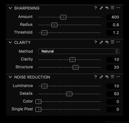 Film Sharpening Settings in Capture One