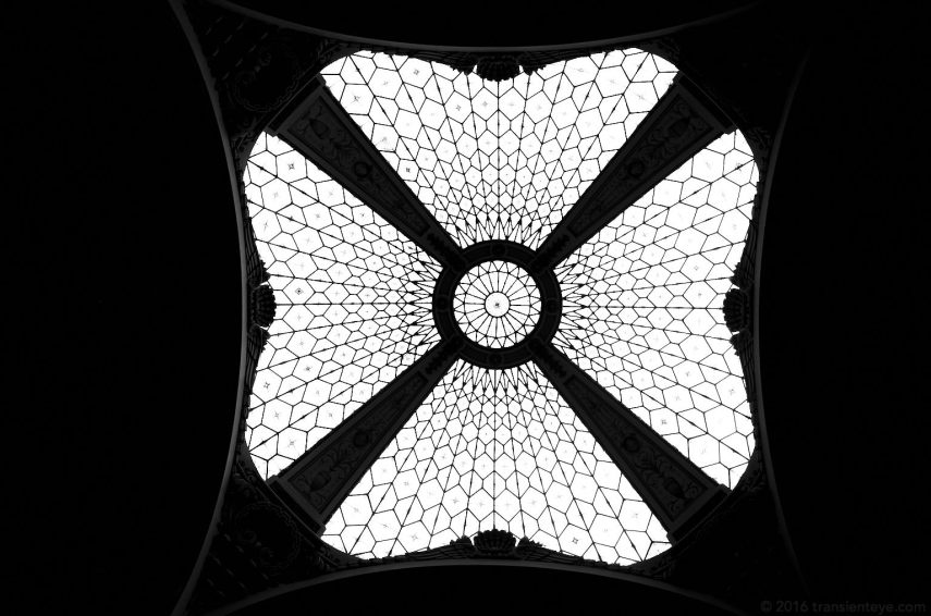 The amazing butterfly-like glass ceiling of the Central Correos, Barcelona.