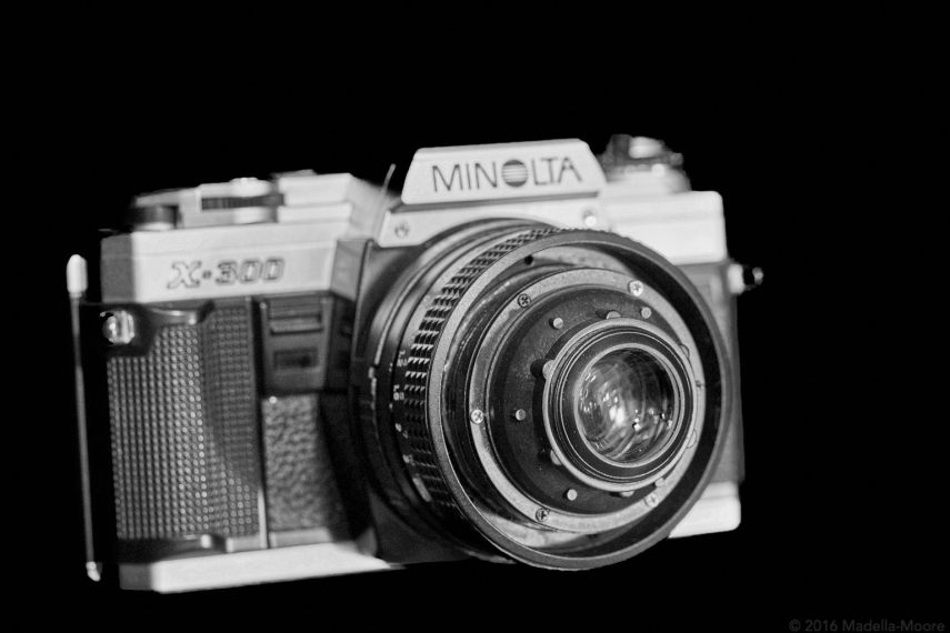 Minolta X300 camera with modified Centon 50mm f1.8