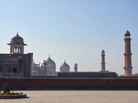 Badshahi Mosque seen from the Old Fort, Lahore, Pakistan.