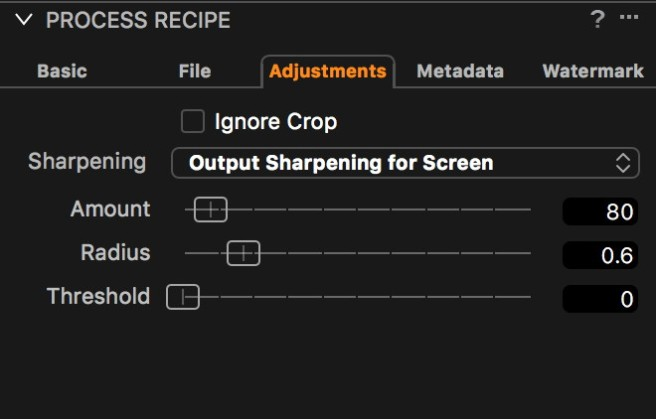 Output Sharpening Controls