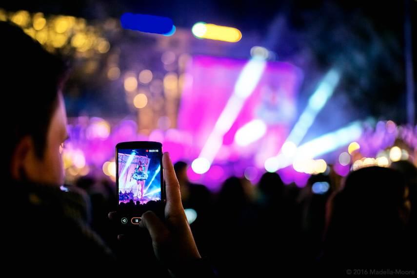 Videoing a concert in Plaça Catalunya