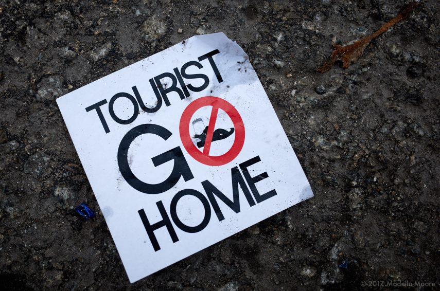 Tourist Go Home - Protest Sticker, Barcelona