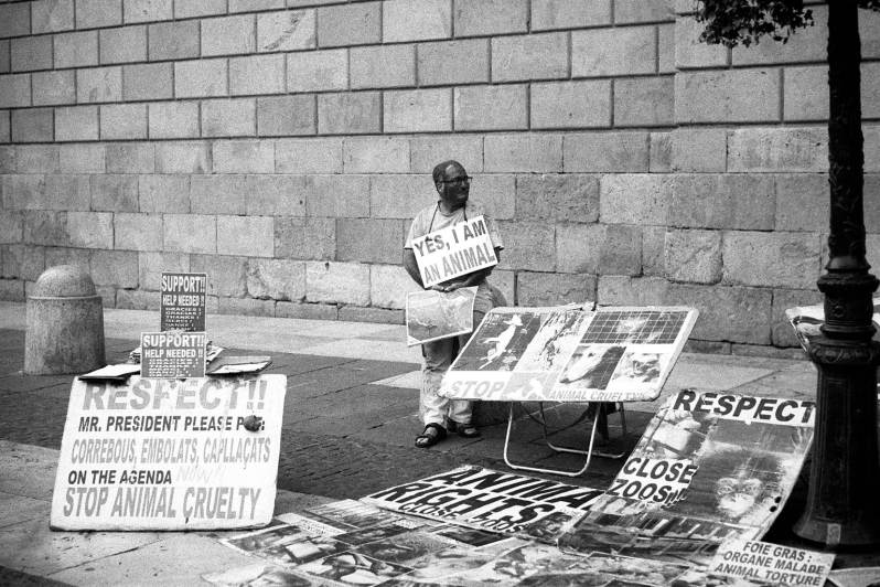 Protest in favour of animal rights, Plaça Sant Jaume, Barcelona